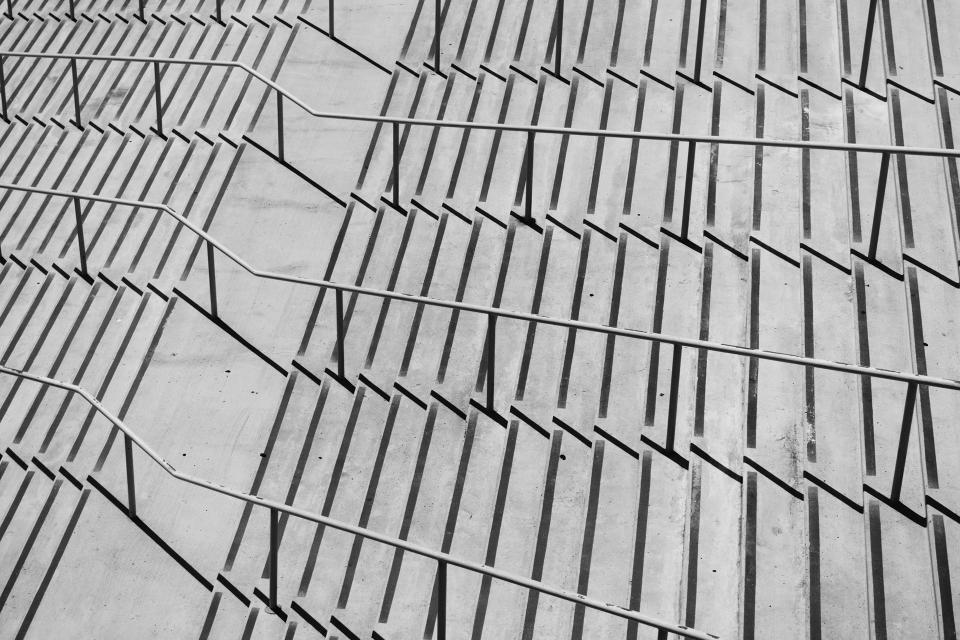stairs steps concrete architecture railings black and white