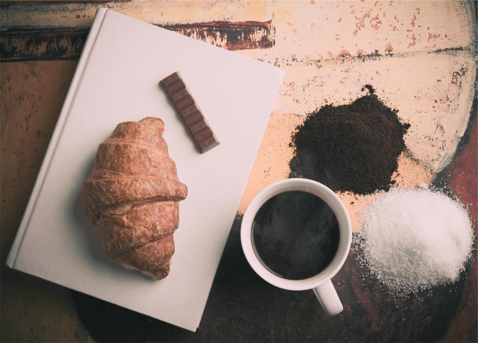 croissant coffee chocolate sugar cup mug book breakfast food snack