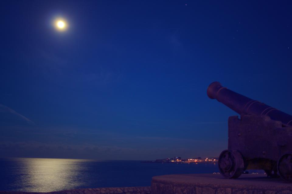 cannon moon sky night dark evening lake water