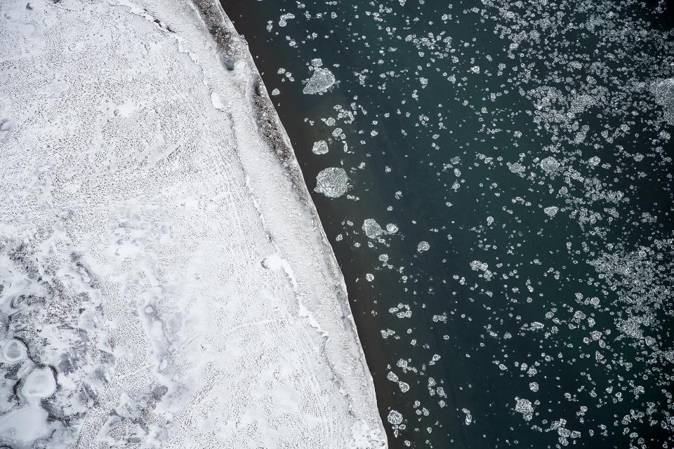 sea ocean water waves nature ice iceberg aerial view snow winter