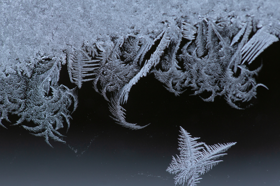 macro frost window ice cold winter snow crystals abstract nature freezing frozen close up