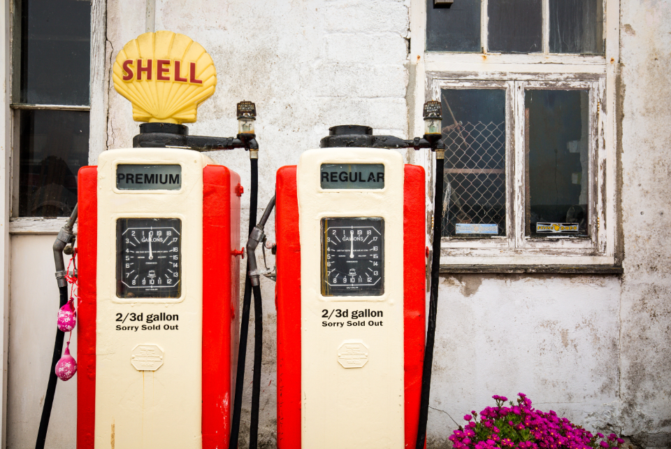 vintage shell pump oil gas petrol station transport