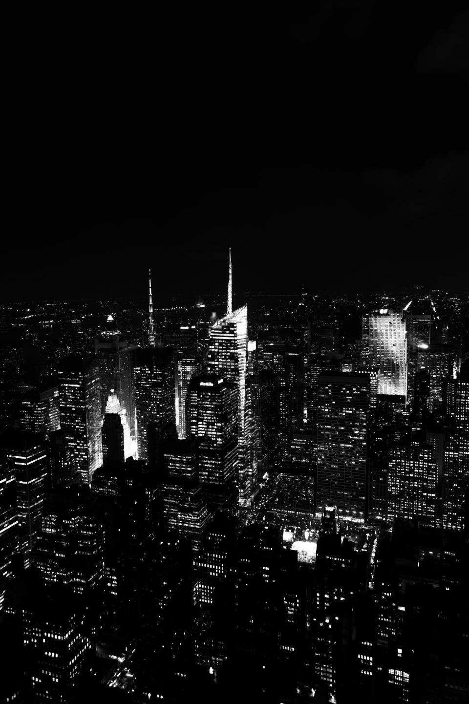 night dark buildings architecture aerial view rooftops New York NYC city urban black and white towers high rises skyscrapers