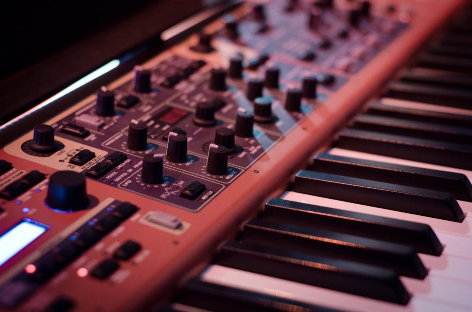 synthesizer keyboard music instrument audio equipment knobs technology