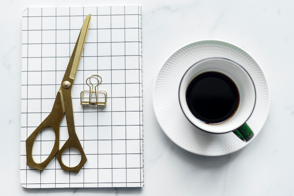 black coffee creative decoration editorial feminine flat lay flatlay girly gold journal marble modern notebook notepad scissors table texture tool work work from home workspace
