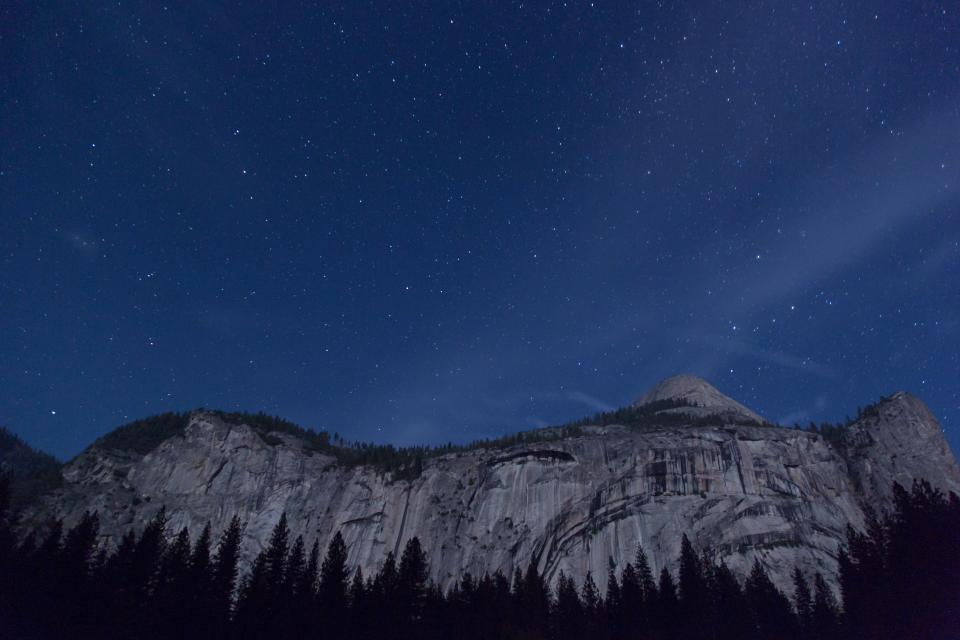 night sky stars evening mountains trees nature outdoors