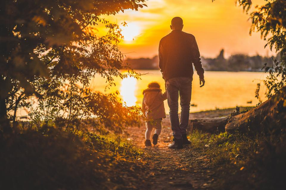 dad father child kid family people park trail forest woods trees nature lake water sunset dusk
