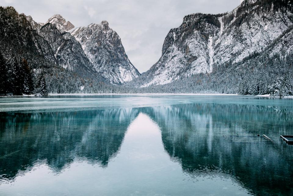 lake water tree plant nature reflection mountain sow winter cold weather sky