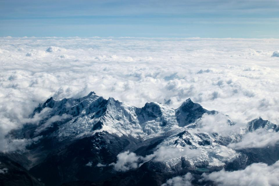 sky clouds blue mountain aerial view nature weather winter cold