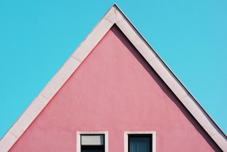 architecture building infrastructure structure establishment house windows pink