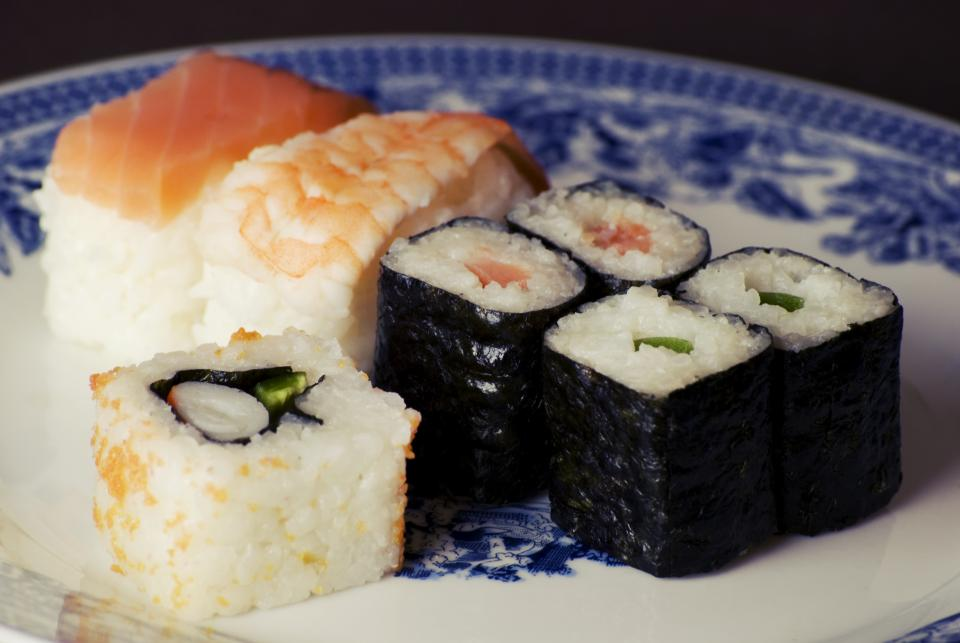 sushi maki rolls rice fish salmon shrimp food lunch dinner