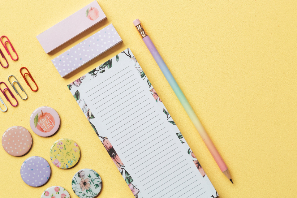 background paper colorful yellow pencil copy space objects note desk flat lay stationery pastel
