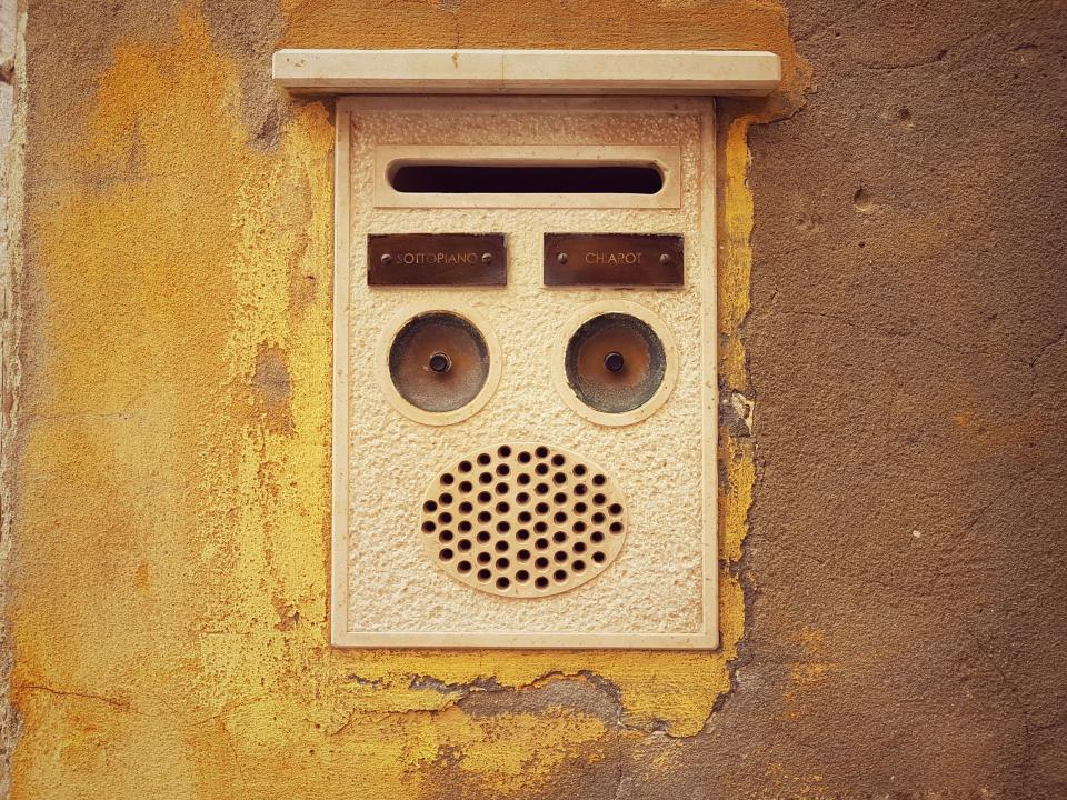 wall brown intercom communiction