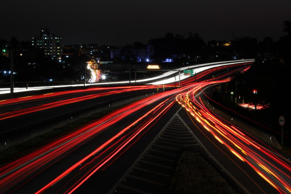 freeway road street dark night lights travel