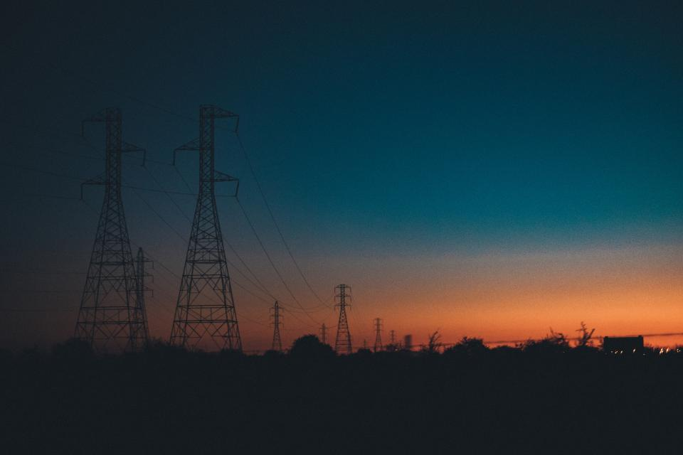sunset dusk sky night dark evening landscape nature power lines silhouette shadows