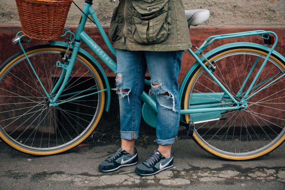 bike bicycle lifestyle shoes sneakers jeans fashion lifestyle people