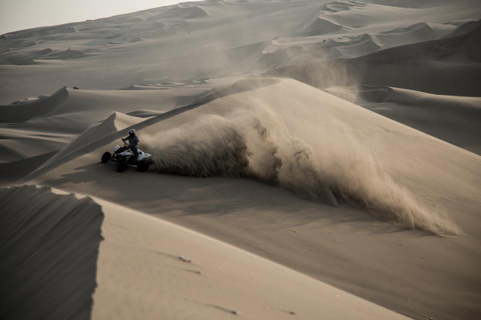 dessert people man ride dirt alone sport truck atv