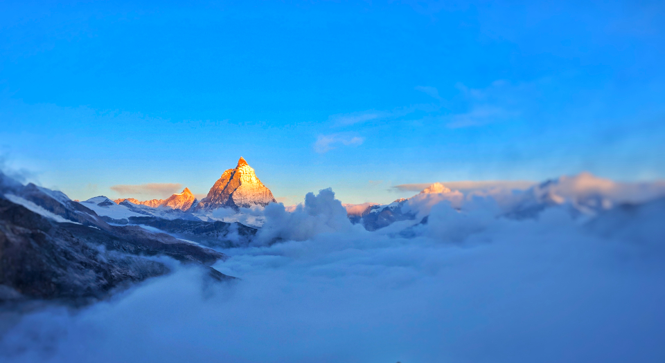 Matterhorn clouds sky nature view summit peaks sunset scenic mountains blue