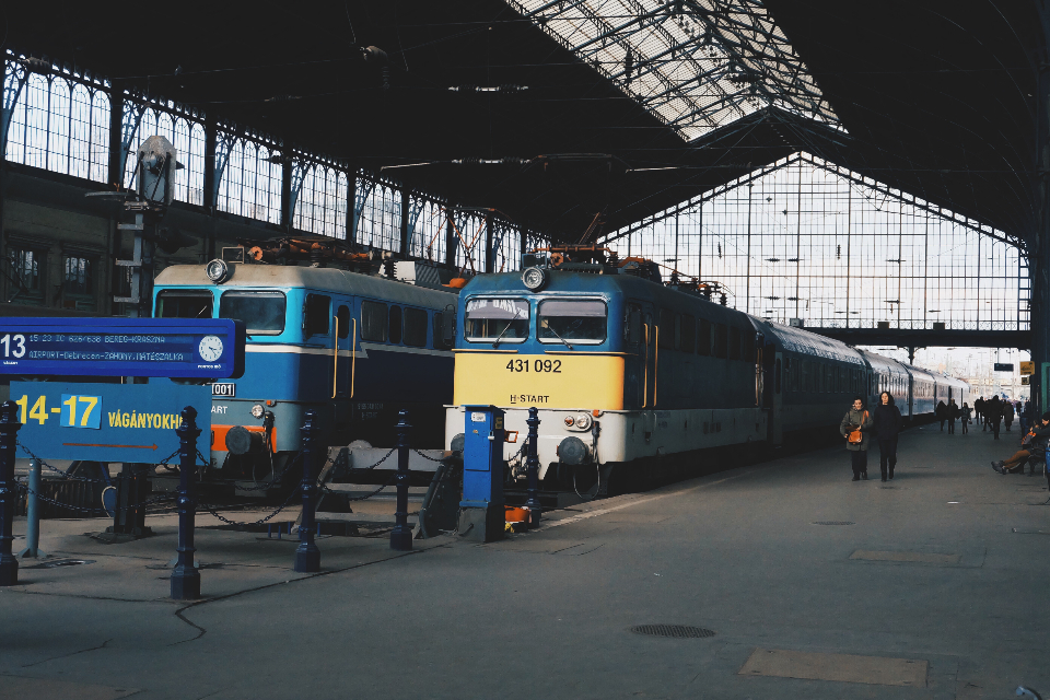 train station railway travel transportation railroad platform track journey locomotive city departure tourism public old urban arrival waiting traffic budapest keleti hungary