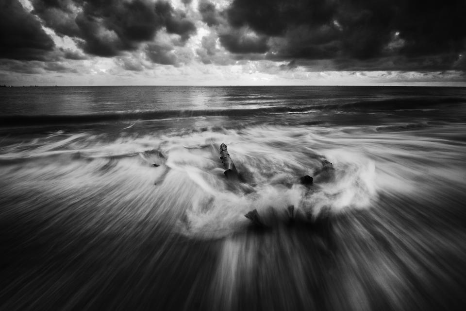sea ocean water waves nature black and white horizon clouds sky