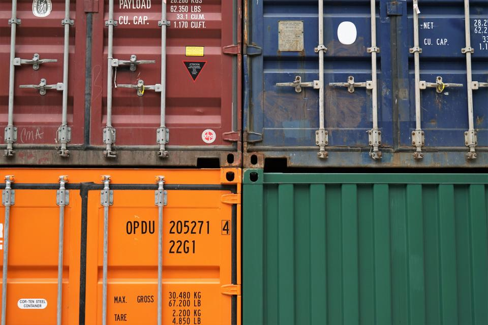 container van export travel cargo wharf logistics