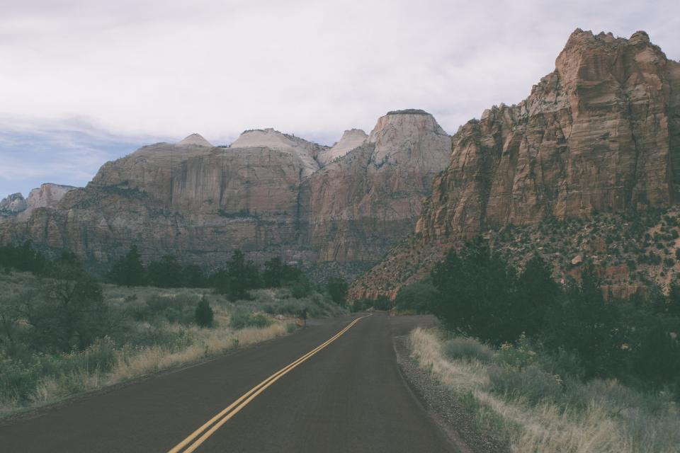 rural road canyons cliffs landscape