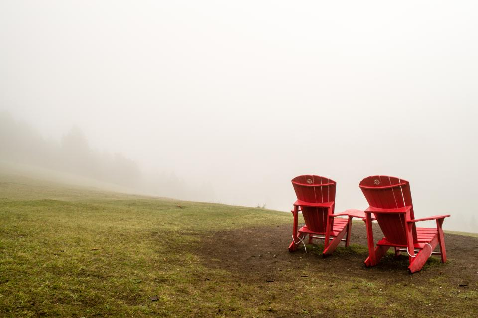 nature grass fog chairs red still