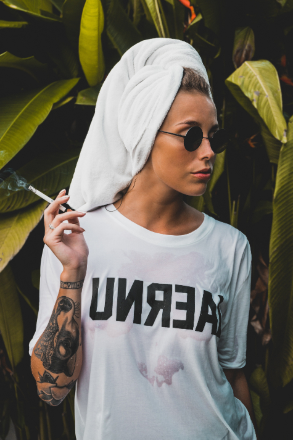 woman model smoking cigarette wet hair towel whtie sunglasses fashion