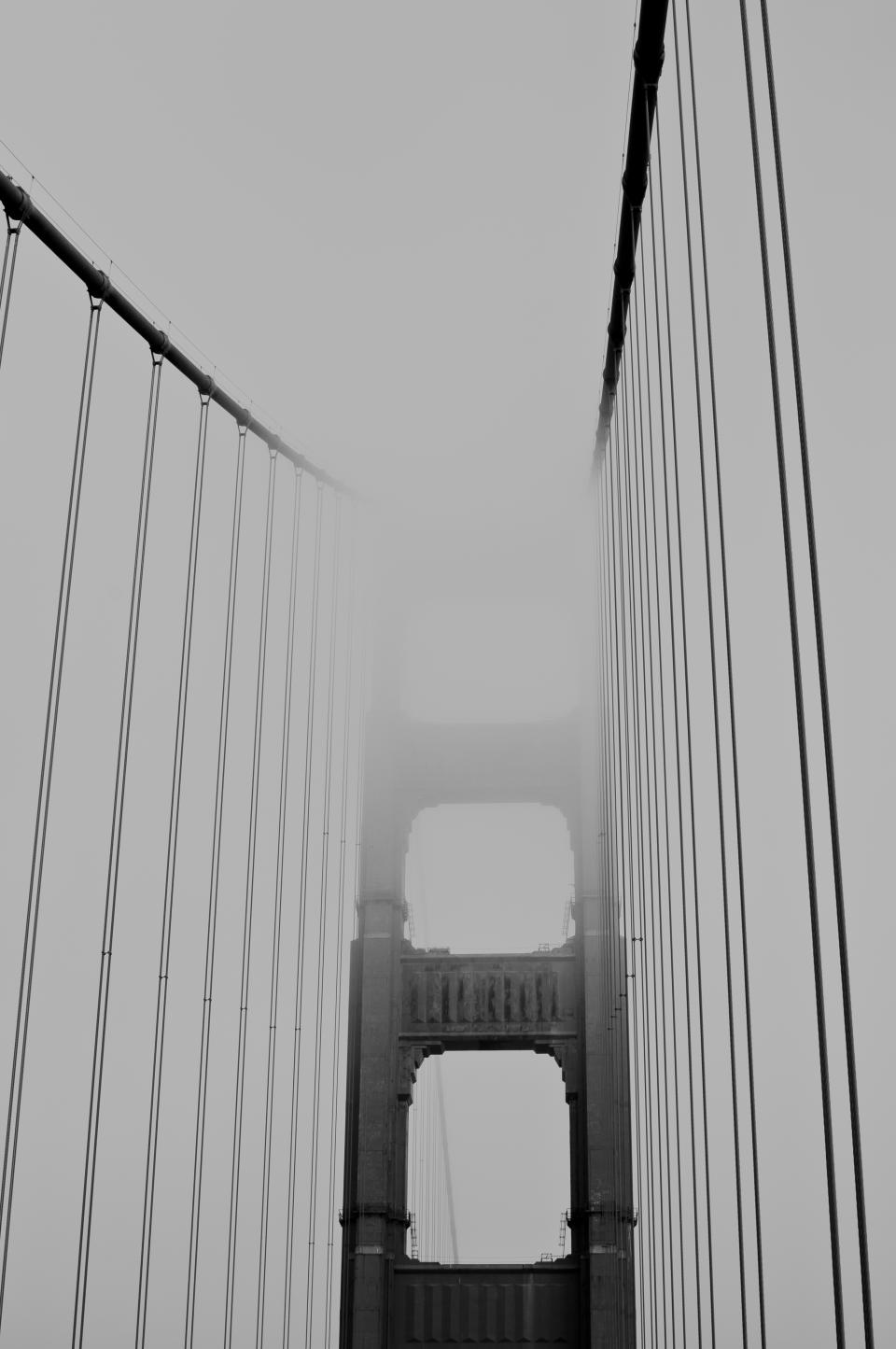 Golden Gate Bridge architecture fog grey black and white