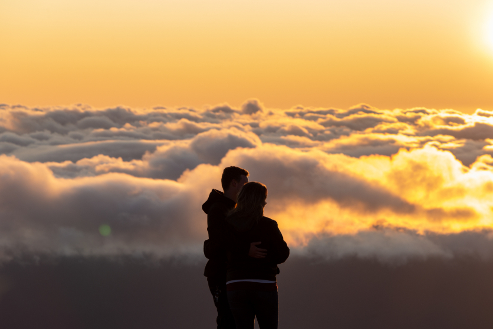 people silhouette outdoors couple clouds view sightseeing sunset nature male female hikers tourists sky travel love
