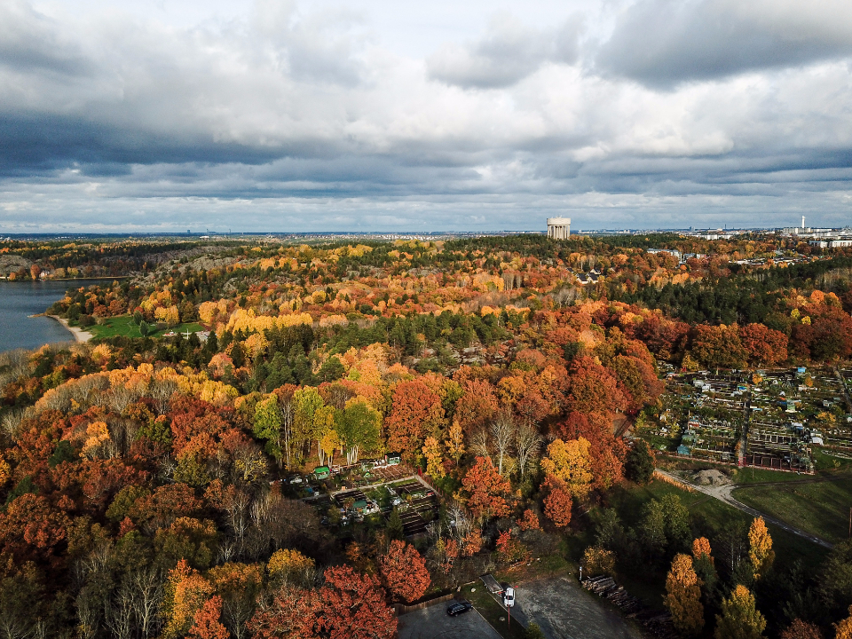 drone view amazing sweden stockholm view panoramic clouds sunset