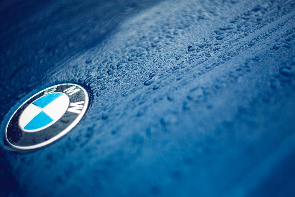 bmw blue vehicle car droplets rain drops water automotive wet