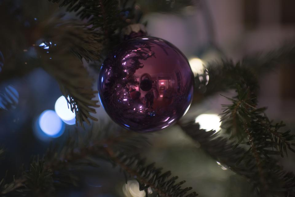christmas decor ball tree lights bokeh
