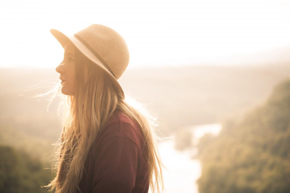 people girl alone cap hat nature mountain blur sky sunset sunrise