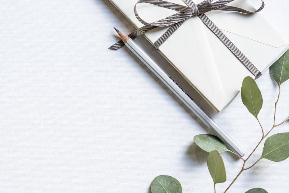 white ribbon arts craft leaves event pencil