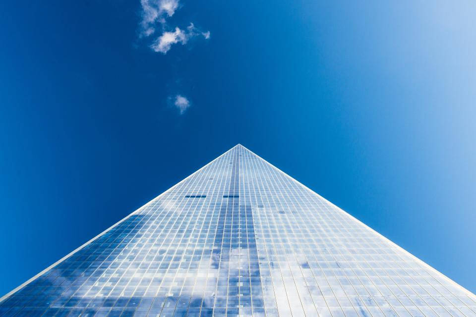 architecture buildings office residential modern art perspective linear lines patterns nature sky clouds reflection blue