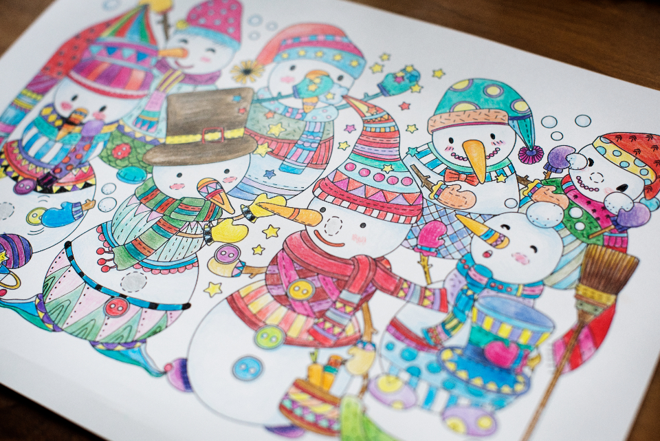 adult coloring art artistic beautiful christmas christmas day color colored colorful coloring coloring book creative creativity desk draw drawing drawn festive holiday kids coloring book season yuletide illustration
