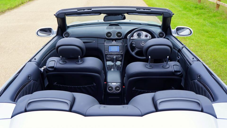 car interior black convertible mercedes benz