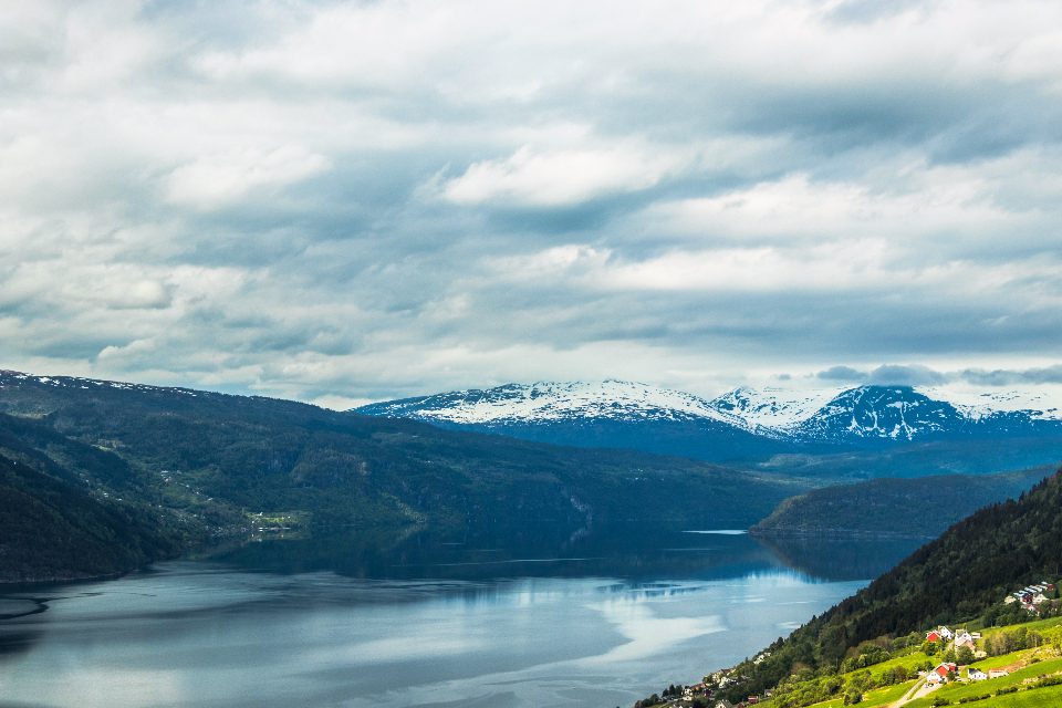 norway amazing Mountains lake clouds sky Incredible summer roadtrip travel