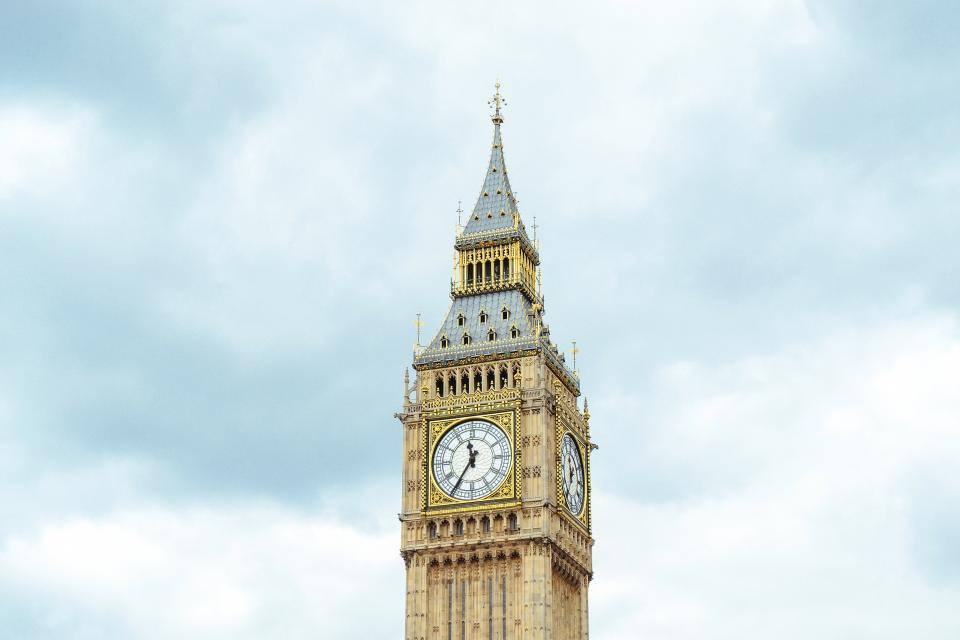 architecture buildings tower big ben palace westminster uk london clock watch sky clouds