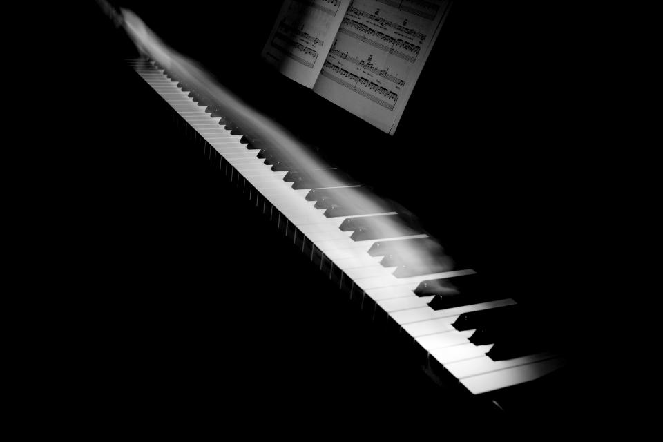 music instrument piano keys motion smoke notes black and white still