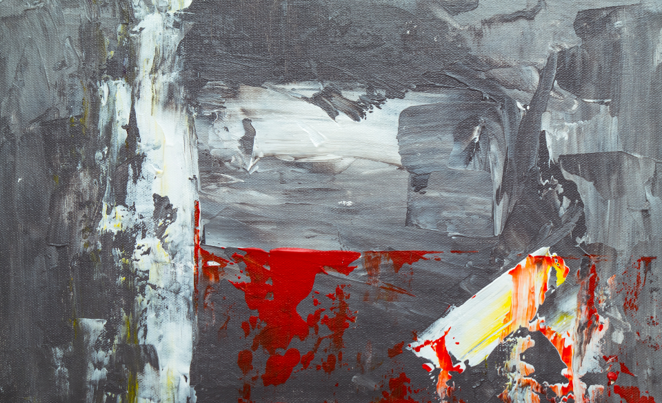 abstract painting art creative design artist canvas acrylic close up gray moody muted colored red oil paint texture