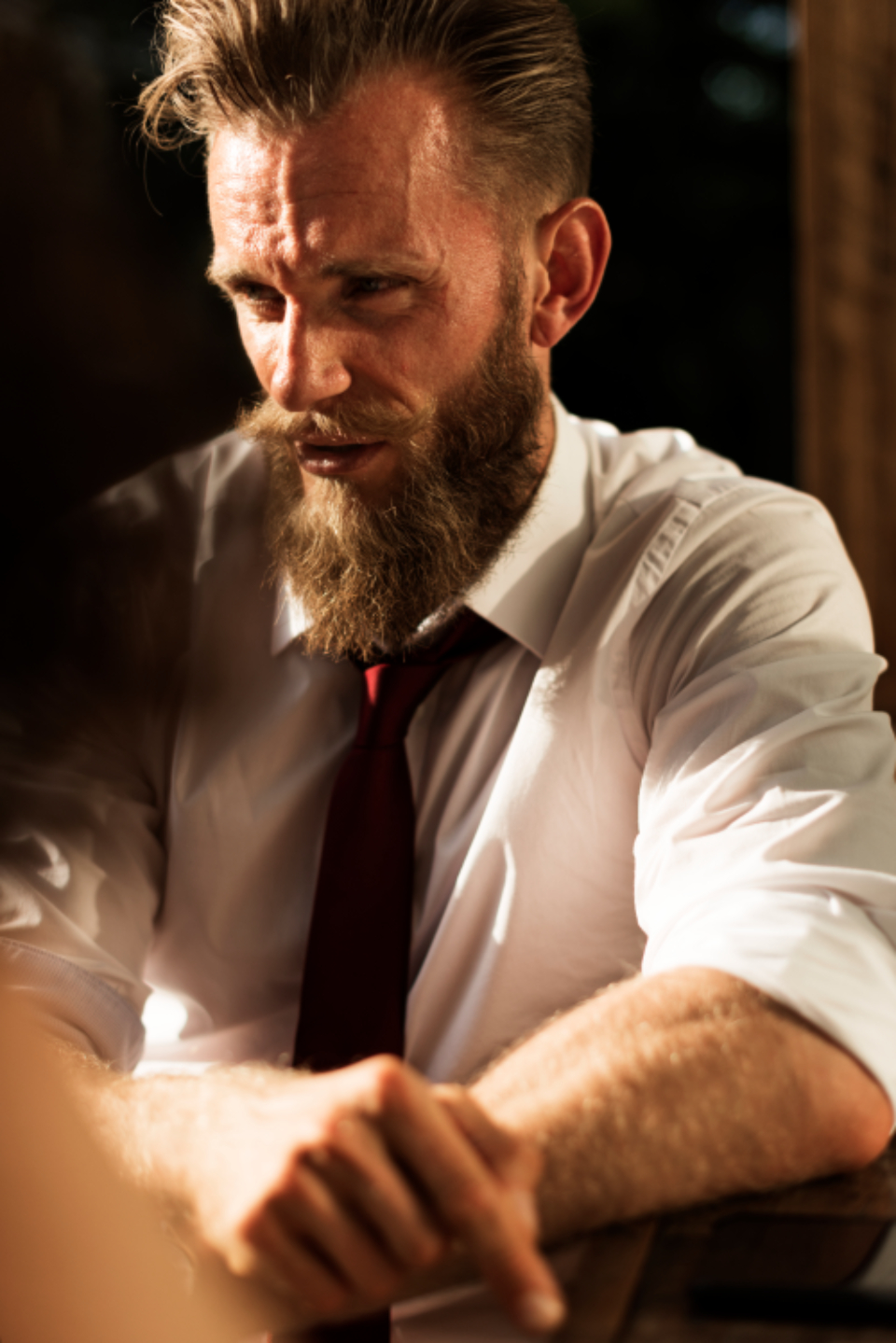 beard business businessman confidence corporate deal male man offer style sunlight sunny tie people