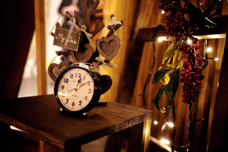 wood table lights clocks newyear mirror vintage celebration warmth house xmas christmas