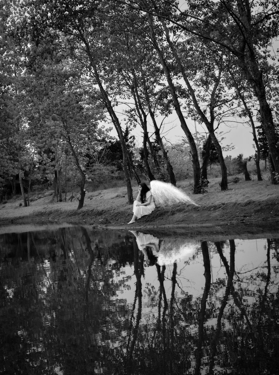 sad woman angel sitting outdoors female person trees water reflection contemplation thinking lonely alone wings black and white