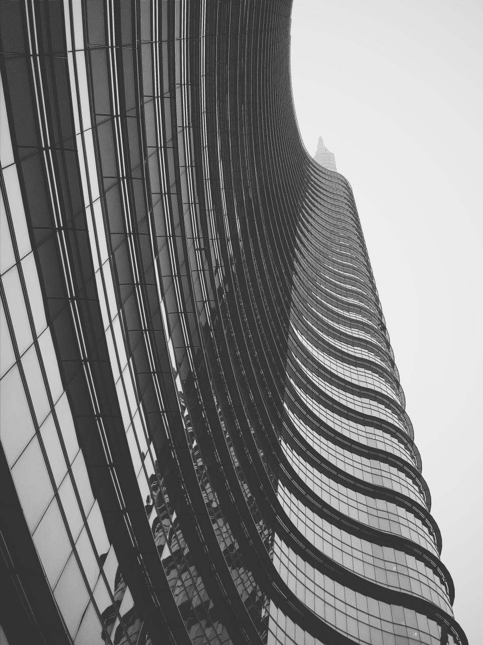 building architecture tower high rise windows city urban black and white