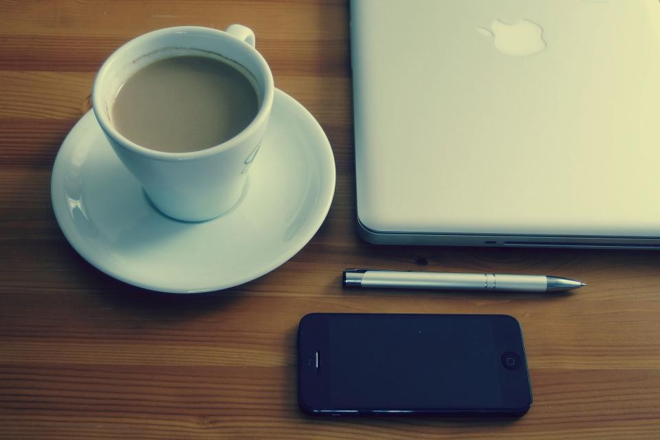 iphone mobile macbook laptop computer technology business creative desk pen espresso coffee