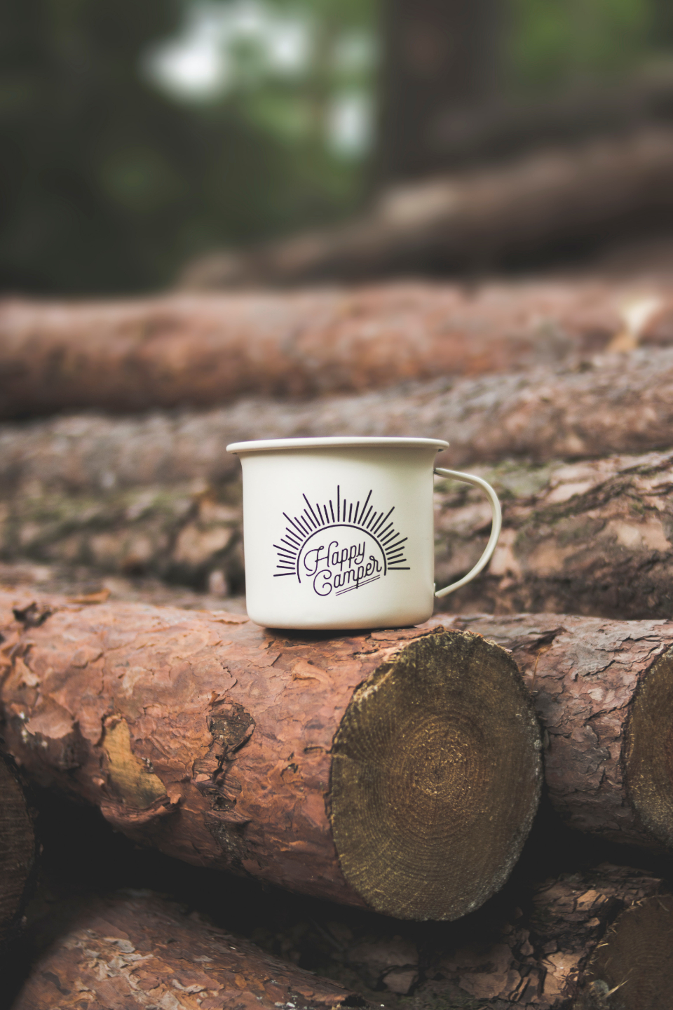 happy camper mug cup drink wood forest log metal steel