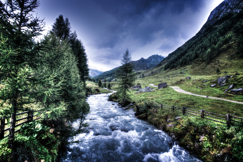 hdr hdr photography landscape nature river mountains water trees grass clouds sky stream storm hd wallpaper desktop wallpaper