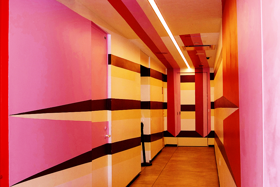 architecture abstract building hallway design doors colorful detail art interior background perspective pattern painted